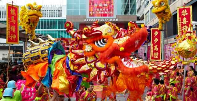 Dragon and Lion Dances and Parade at Harbour City Hong Kong