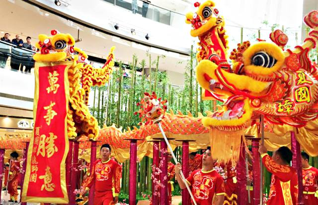 Dragon and Lion Dances and Parade at IFC Mall Hong Kong