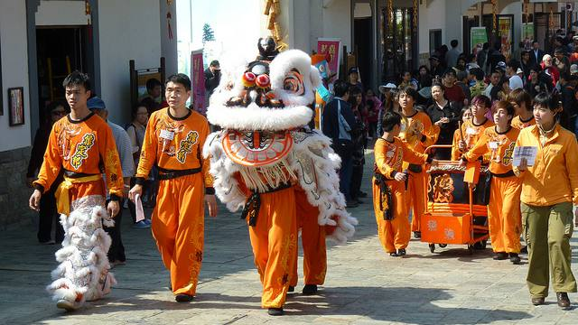 Dragon and Lion Dances and Parade at Ngong Ping Village Lantau
