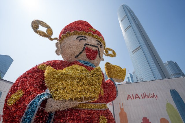 Lion Dances and God of Fortune at the Observation Wheel