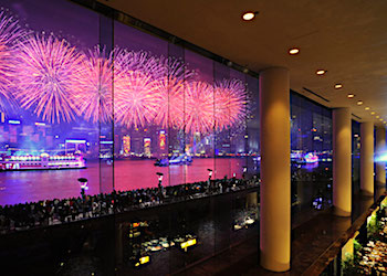 Panoramic night views from the Lobby Bar at the Intercontinental