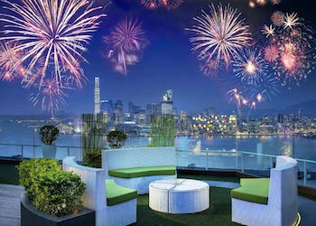Fireworks views from Park Lane Hotel in Hong Kong