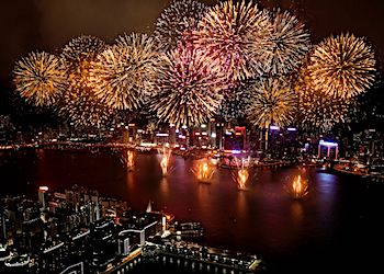 Fireworks views from Ritz Carlton Hotel in Hong Kong