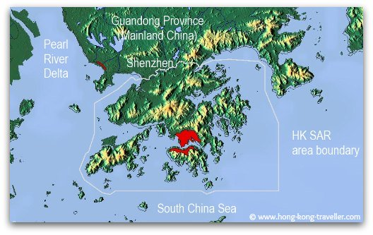 Clinging to the southern tip of China's Guangdong  Province (Canton) and bordering the city of Shenzhen,    Hong Kong lies on the eastern edge of the Pearl River Estuary surrounded by the South China Sea.
