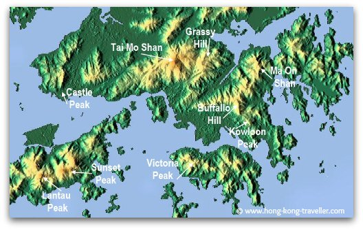 Hong Kong Mountains and Peaks Locations: Tai Mo Shan, Lantau Peak, Sunset Peak, Ma on Shan, Grassy Hill, Buffalo Hill, Kowloon Peak, Castle Peak, Victoria Peak