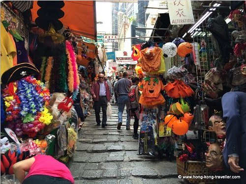 Halloween Decorations and Pumpkins in Hong Kong Pottinger Street Market