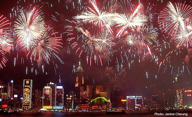 Hong Kong Fireworks over Victoria Harbour