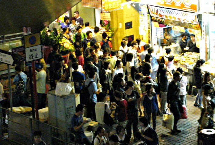 Long Lines at Temple Street Night Market Food Stalls Hong Kong