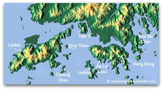 There are over 260 islands in Hong Kong,  these are the main ones: Hong Kong, Lantau, Lamma, Cheung Chau, Peng Chau, Tsing Yi, Ap Lei Chau, Kau Sai Chau