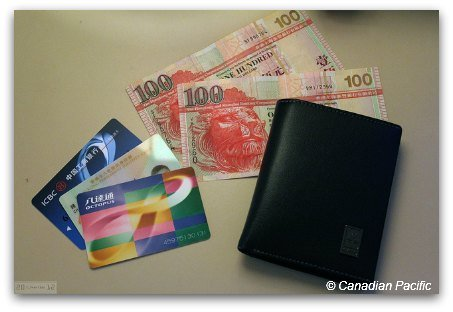 Hong Kong cash 100 notes, Octopus Card, credit cards