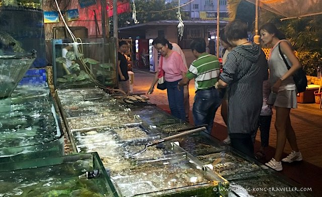 Fresh seafood tanks in Saikung