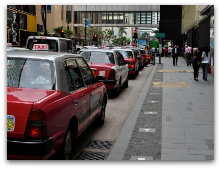 Taxi stands in Hong Kong