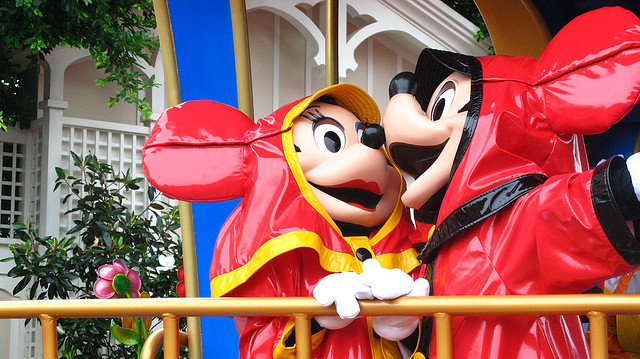 Mickey and Minnie on a rainy summer day