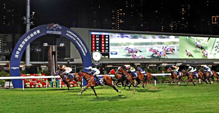 Night Horse Racing at Happy Valley Racecourse