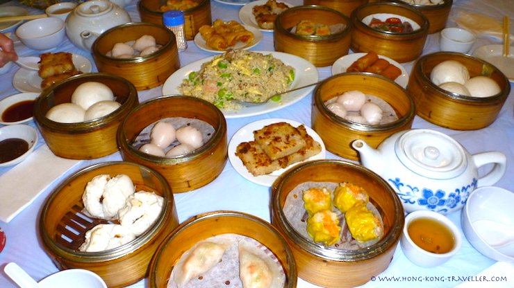 Many kinds of dim sum in Hong Kong