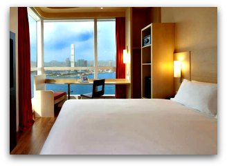 Ibis Hong Kong Bedroom with harbour view