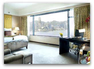 Harbour view room with Convention Center on background at Intercontinental Hotel in Hong Kong