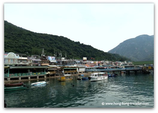 Sok Kwu Wan Waterfront lined with Seafood Restaurants