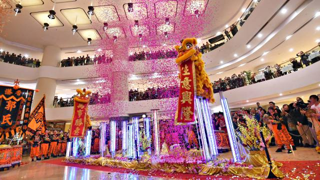 Chinese New Year Lion Dance at Pacific Place Shopping Center in Hong Kong
