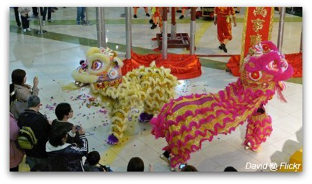 Lion dancers at Shopping center in HK