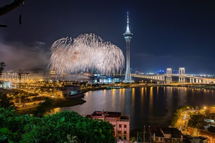 Macau International Fireworks Contest views from Nam Van Lake