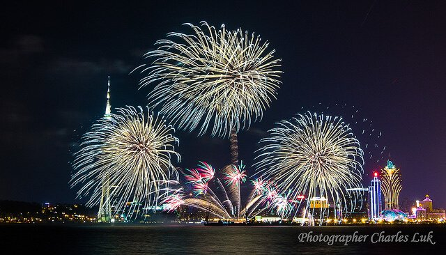 Macau International Fireworks Contest views from Taipa