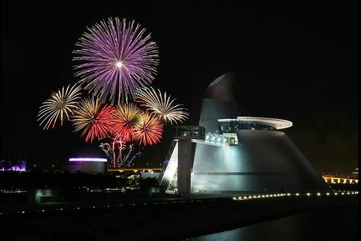 Macau International Fireworks Contest views from Macau shoreline, Macau Science Center