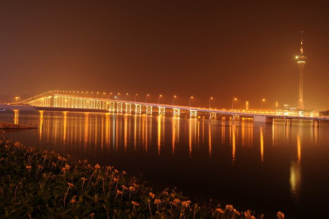 Macau Taipa Bridge at Night