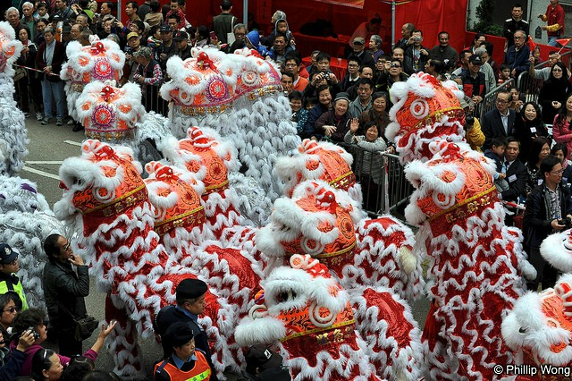 Lion Dance Parades at Tai Kok Tsui Temple Fair