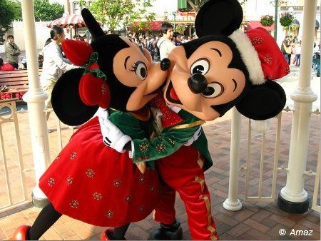 Mickey and Minnie at the Character Greetings in HK Disney at Christmas Time