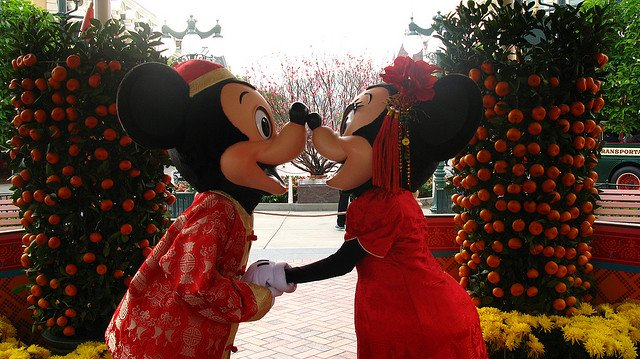 Mickey and Minnie at Hong Kong Disney during Chinese New Year