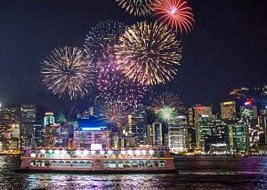Hong Kong National Day Fireworks from Cruise Boat