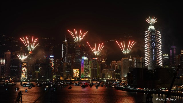 Fireworks launched from buildings in Hong Kong