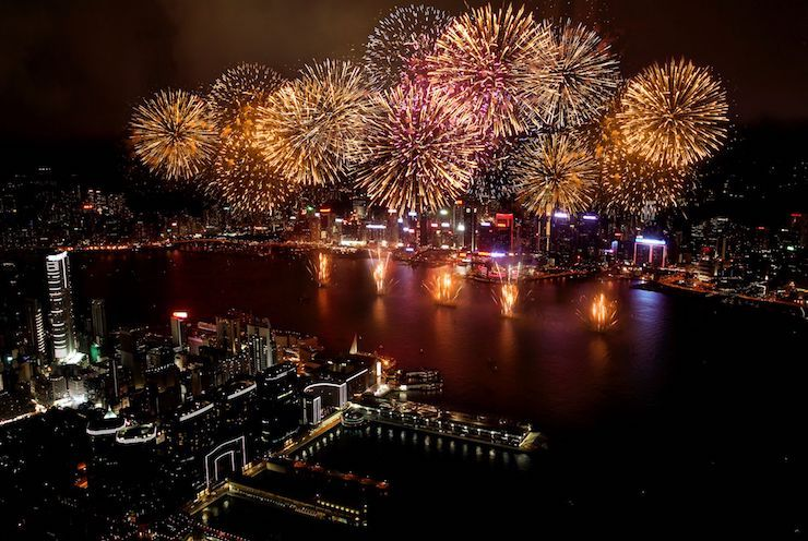Views of Fireworks from the Ritz Carlton Hong Kong