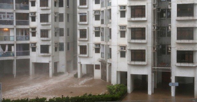 Storm surge and high waves in Hong Kong housing estate