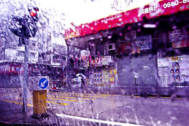 Stores shuttered during typhoon in Hong Kong