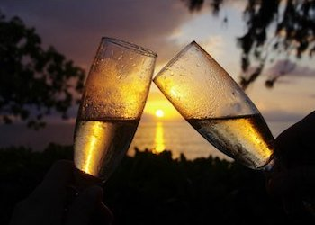 Romantic Sunset and Champagne