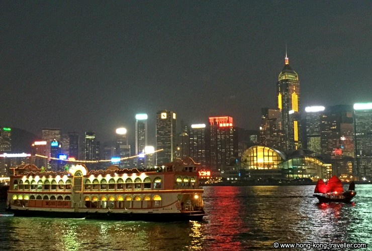 Beautiful Victoria Harbour lit up at night, and the best way to enjoy the view is from the water aboard one of the many harbour cruises offered.